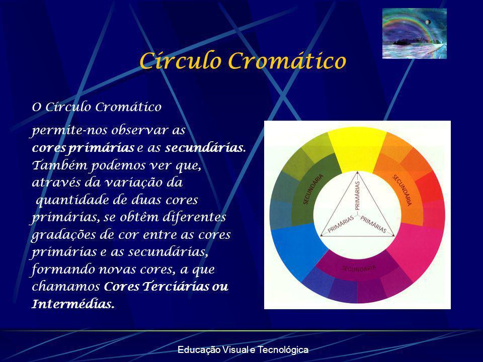 Educação Visual e Tecnológica Círculo Cromático O Círculo Cromático permite-nos observar as cores primárias e as secundárias. Também podemos ver que,