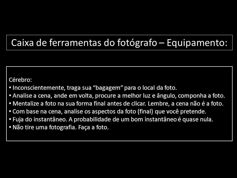 """Cérebro: • Inconscientemente, traga sua """"bagagem"""" para o local da foto. • Analise a cena, ande em volta, procure a melhor luz e ângulo, componha a fot"""