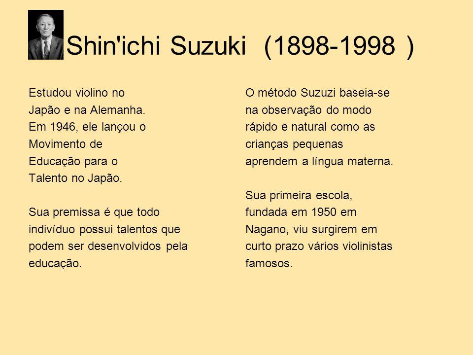 Shin'ichi Suzuki (1898-1998 ) Estudou violino no Japão e na Alemanha. Em 1946, ele lançou o Movimento de Educação para o Talento no Japão. Sua premiss