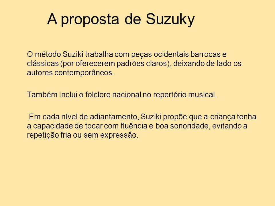 O método Suziki trabalha com peças ocidentais barrocas e clássicas (por oferecerem padrões claros), deixando de lado os autores contemporâneos. Também