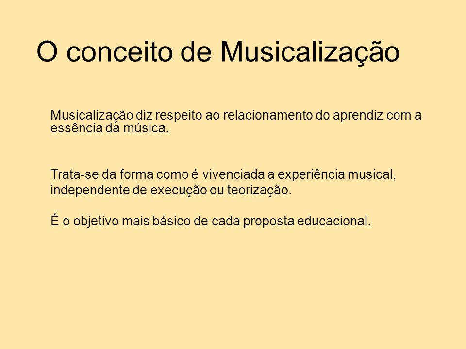 O conceito de Musicalização Musicalização diz respeito ao relacionamento do aprendiz com a essência da música. Trata-se da forma como é vivenciada a e