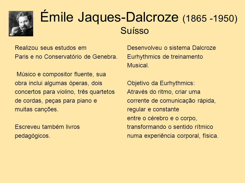 Émile Jaques-Dalcroze (1865 -1950) Suísso Realizou seus estudos em Paris e no Conservatório de Genebra. Músico e compositor fluente, sua obra inclui a