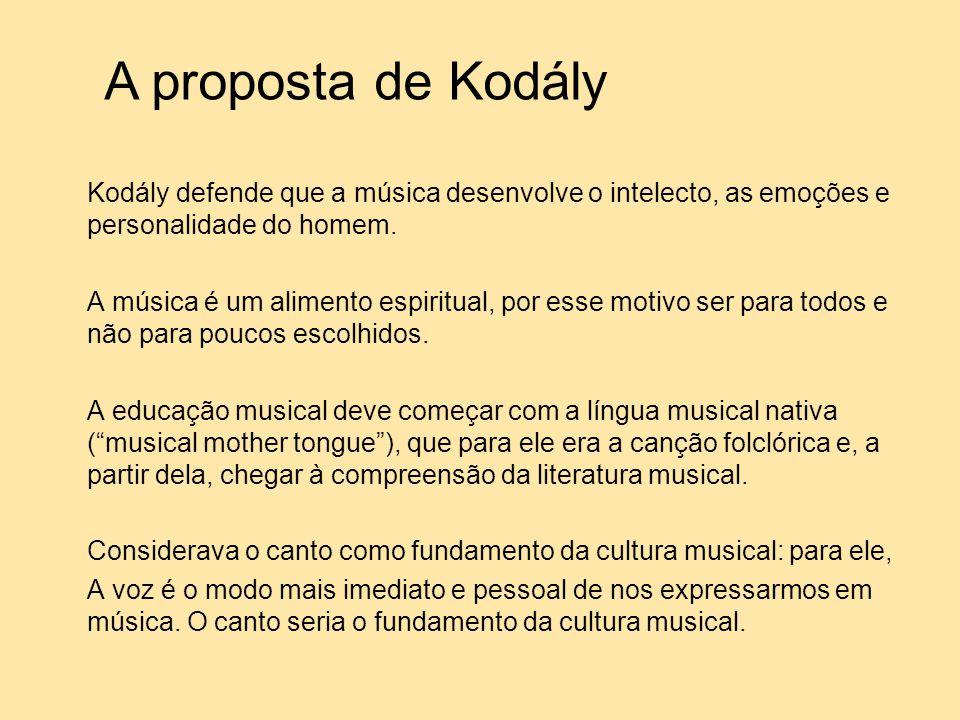 Kodály defende que a música desenvolve o intelecto, as emoções e personalidade do homem. A música é um alimento espiritual, por esse motivo ser para t