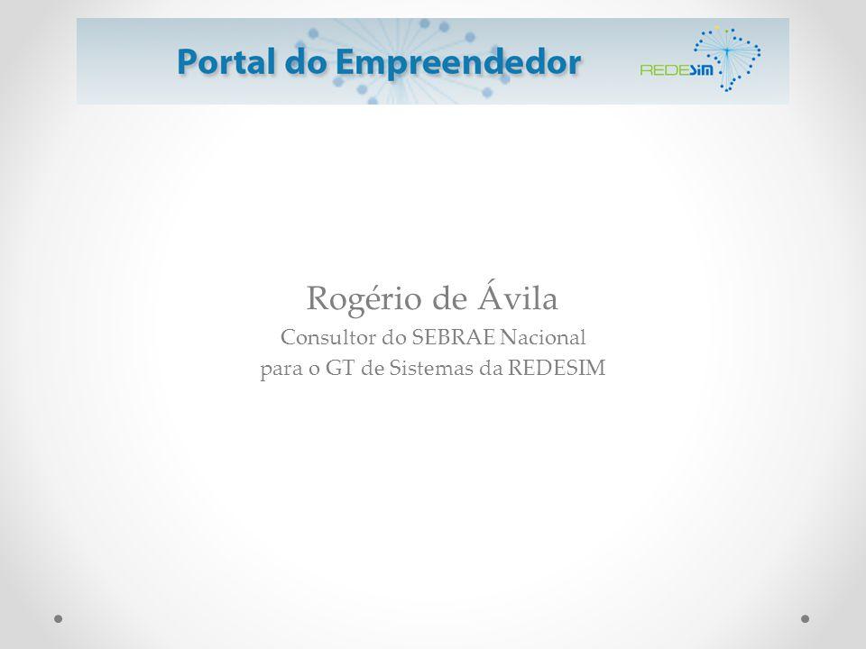 Rogério de Ávila Consultor do SEBRAE Nacional para o GT de Sistemas da REDESIM