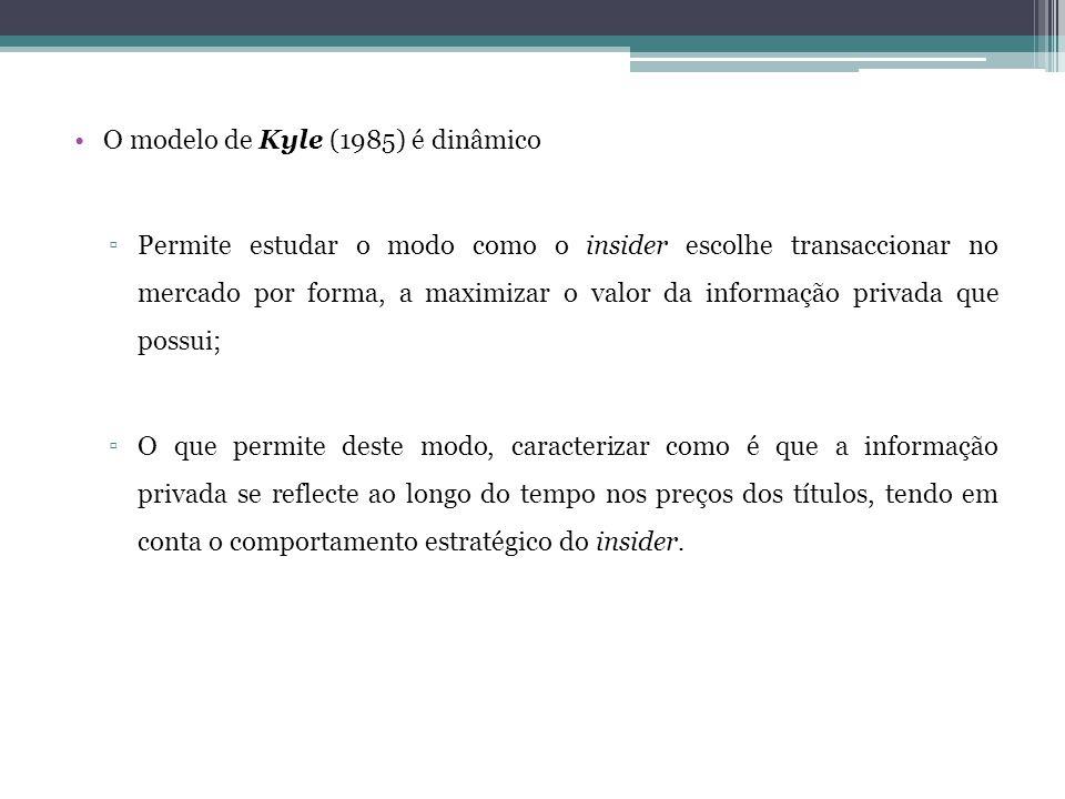 •O modelo de Kyle (1985) é dinâmico ▫Permite estudar o modo como o insider escolhe transaccionar no mercado por forma, a maximizar o valor da informaç