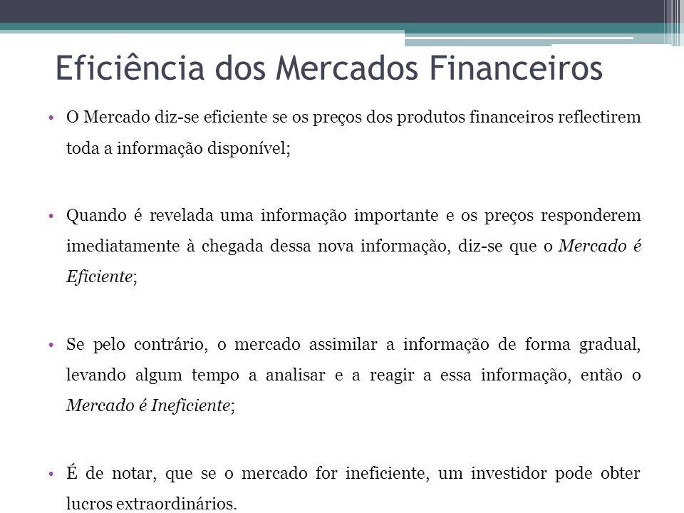 Eficiência dos Mercados Financeiros •O Mercado diz-se eficiente se os preços dos produtos financeiros reflectirem toda a informação disponível; •Quando é revelada uma informação importante e os preços responderem imediatamente à chegada dessa nova informação, diz-se que o Mercado é Eficiente; •Se pelo contrário, o mercado assimilar a informação de forma gradual, levando algum tempo a analisar e a reagir a essa informação, então o Mercado é Ineficiente; •É de notar, que se o mercado for ineficiente, um investidor pode obter lucros extraordinários.