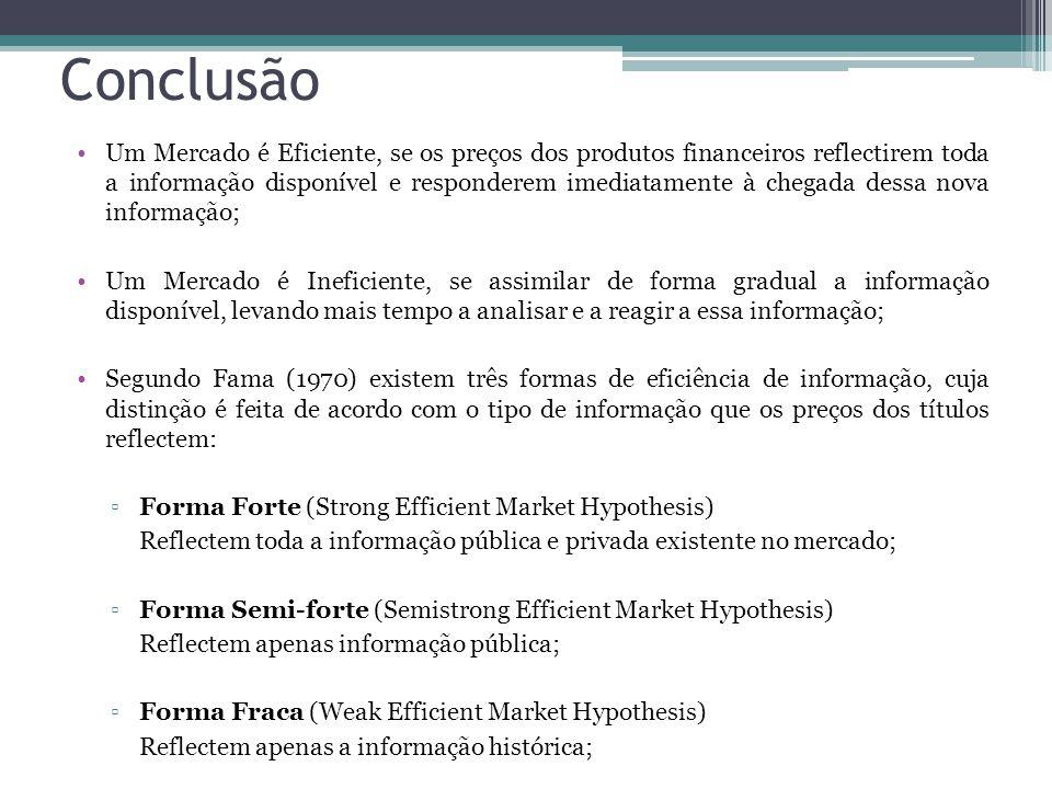 Conclusão •Um Mercado é Eficiente, se os preços dos produtos financeiros reflectirem toda a informação disponível e responderem imediatamente à chegad