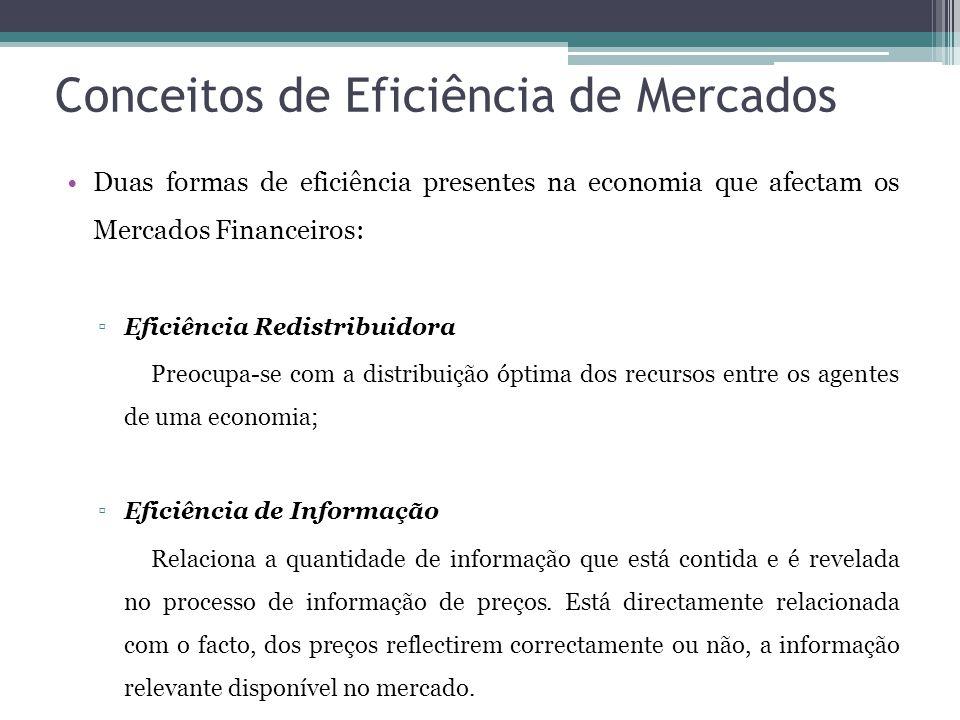 Conceitos de Eficiência de Mercados •Duas formas de eficiência presentes na economia que afectam os Mercados Financeiros: ▫Eficiência Redistribuidora Preocupa-se com a distribuição óptima dos recursos entre os agentes de uma economia; ▫Eficiência de Informação Relaciona a quantidade de informação que está contida e é revelada no processo de informação de preços.
