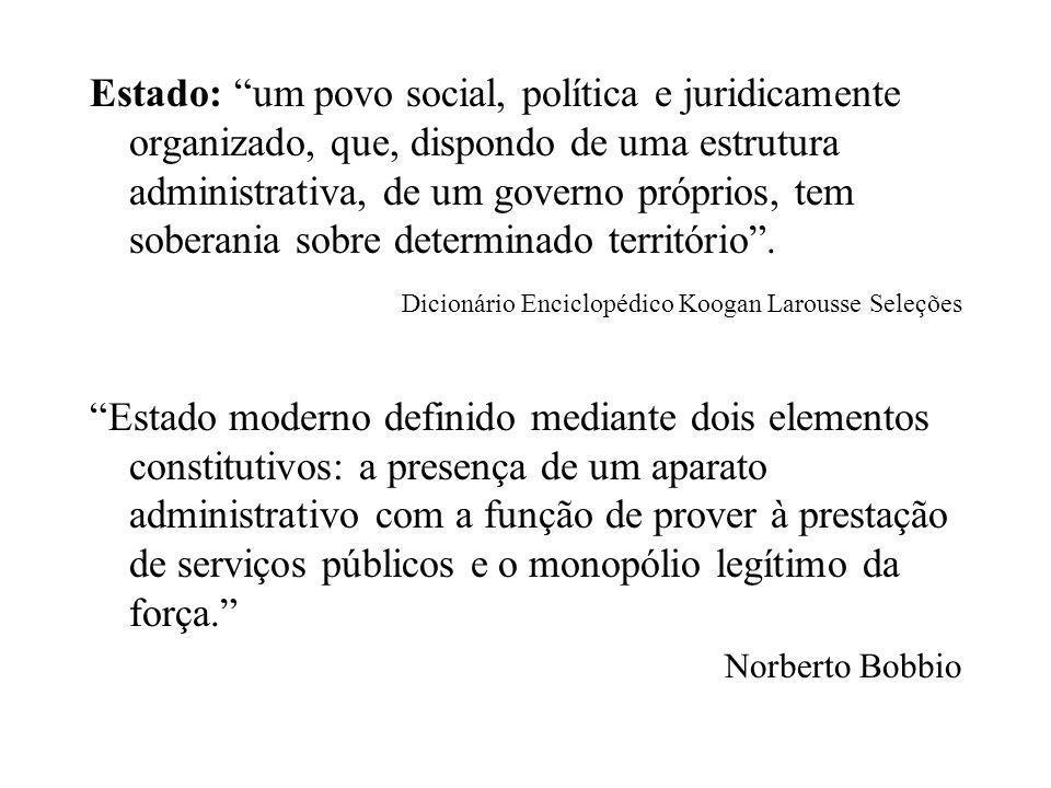"""Estado: """"um povo social, política e juridicamente organizado, que, dispondo de uma estrutura administrativa, de um governo próprios, tem soberania sob"""