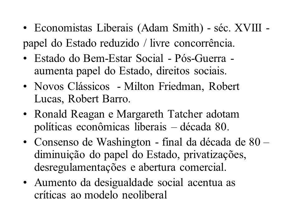 •Economistas Liberais (Adam Smith) - séc. XVIII - papel do Estado reduzido / livre concorrência. •Estado do Bem-Estar Social - Pós-Guerra - aumenta pa