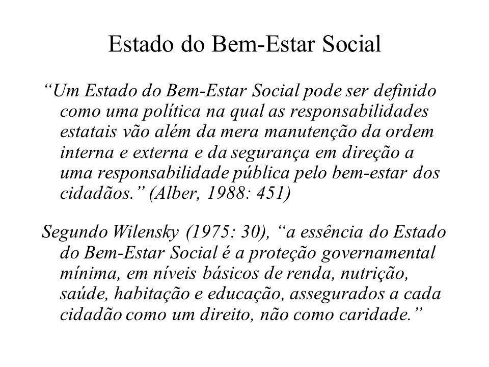 """Estado do Bem-Estar Social """"Um Estado do Bem-Estar Social pode ser definido como uma política na qual as responsabilidades estatais vão além da mera m"""