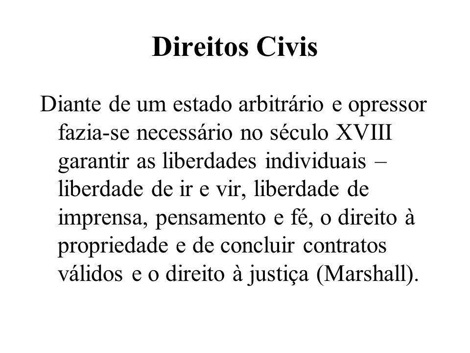 Direitos Civis Diante de um estado arbitrário e opressor fazia-se necessário no século XVIII garantir as liberdades individuais – liberdade de ir e vi