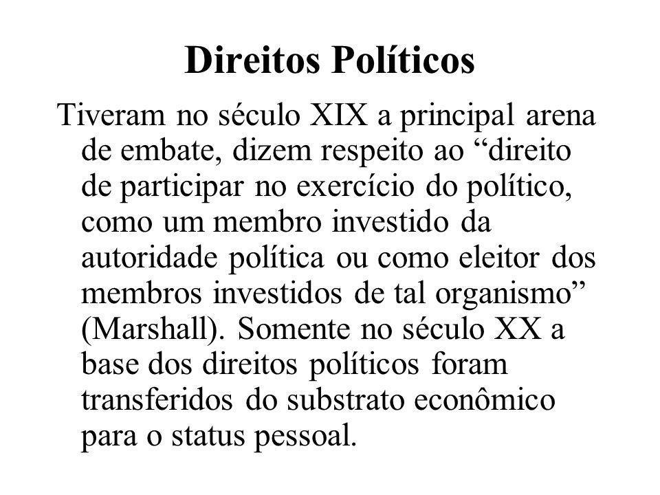 """Direitos Políticos Tiveram no século XIX a principal arena de embate, dizem respeito ao """"direito de participar no exercício do político, como um membr"""