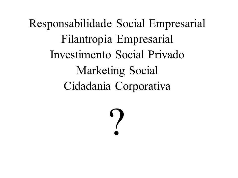 Responsabilidade Social Empresarial Filantropia Empresarial Investimento Social Privado Marketing Social Cidadania Corporativa ?