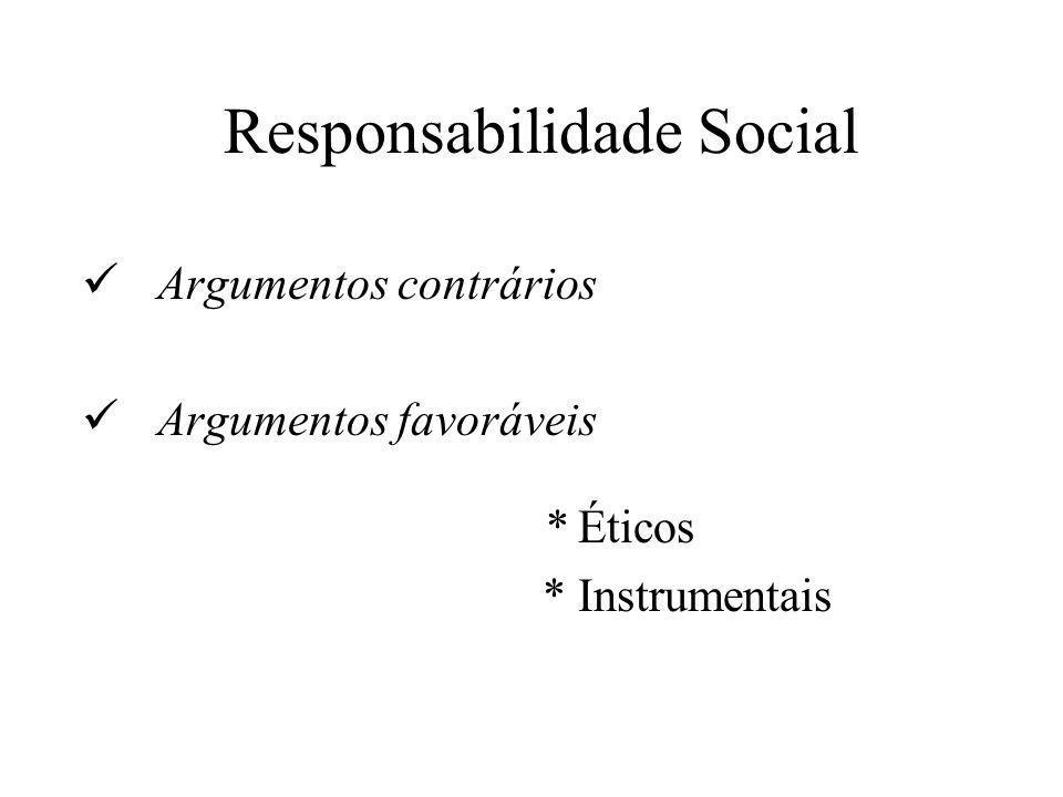 Responsabilidade Social  Argumentos contrários  Argumentos favoráveis * Éticos * Instrumentais