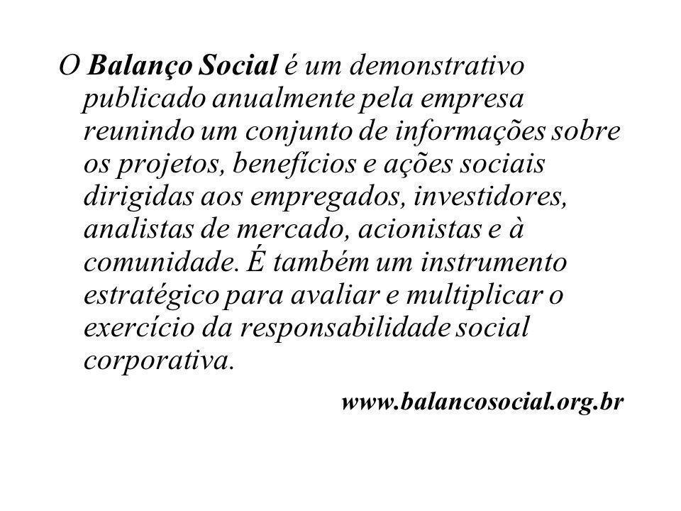 O Balanço Social é um demonstrativo publicado anualmente pela empresa reunindo um conjunto de informações sobre os projetos, benefícios e ações sociai