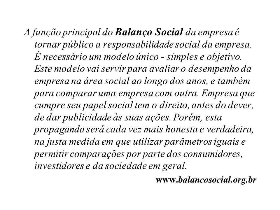 A função principal do Balanço Social da empresa é tornar público a responsabilidade social da empresa. É necessário um modelo único - simples e objeti