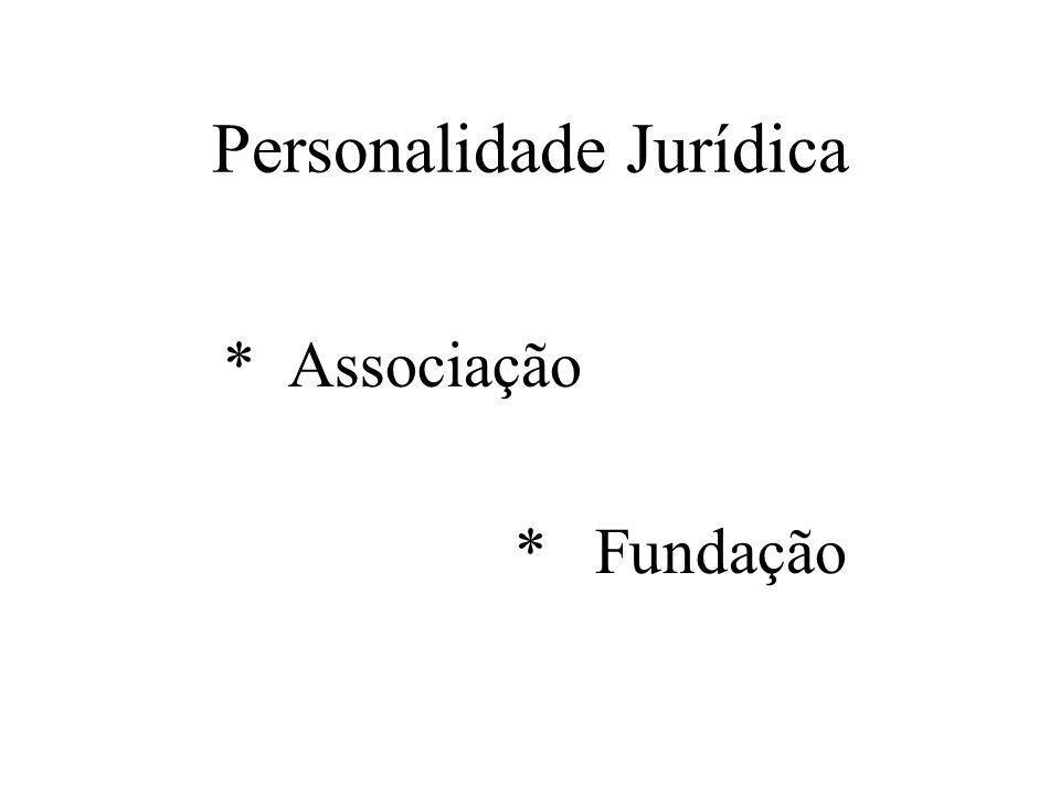 Personalidade Jurídica * Associação * Fundação