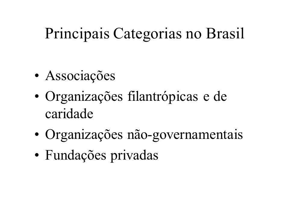 Principais Categorias no Brasil •Associações •Organizações filantrópicas e de caridade •Organizações não-governamentais •Fundações privadas
