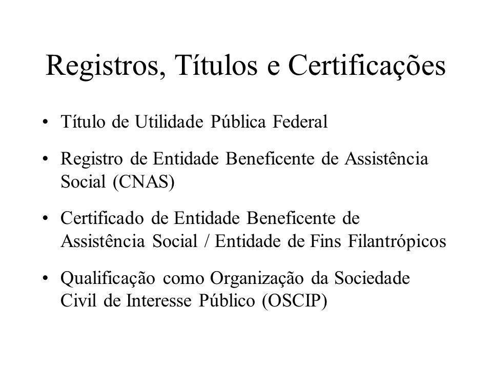 Registros, Títulos e Certificações •Título de Utilidade Pública Federal •Registro de Entidade Beneficente de Assistência Social (CNAS) •Certificado de