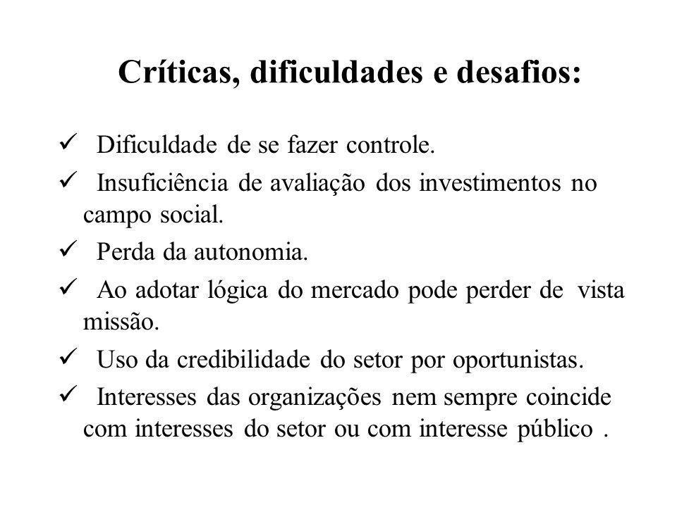 Críticas, dificuldades e desafios:  Dificuldade de se fazer controle.  Insuficiência de avaliação dos investimentos no campo social.  Perda da auto