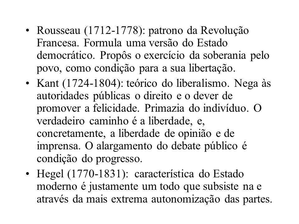 •Rousseau (1712-1778): patrono da Revolução Francesa. Formula uma versão do Estado democrático. Propôs o exercício da soberania pelo povo, como condiç