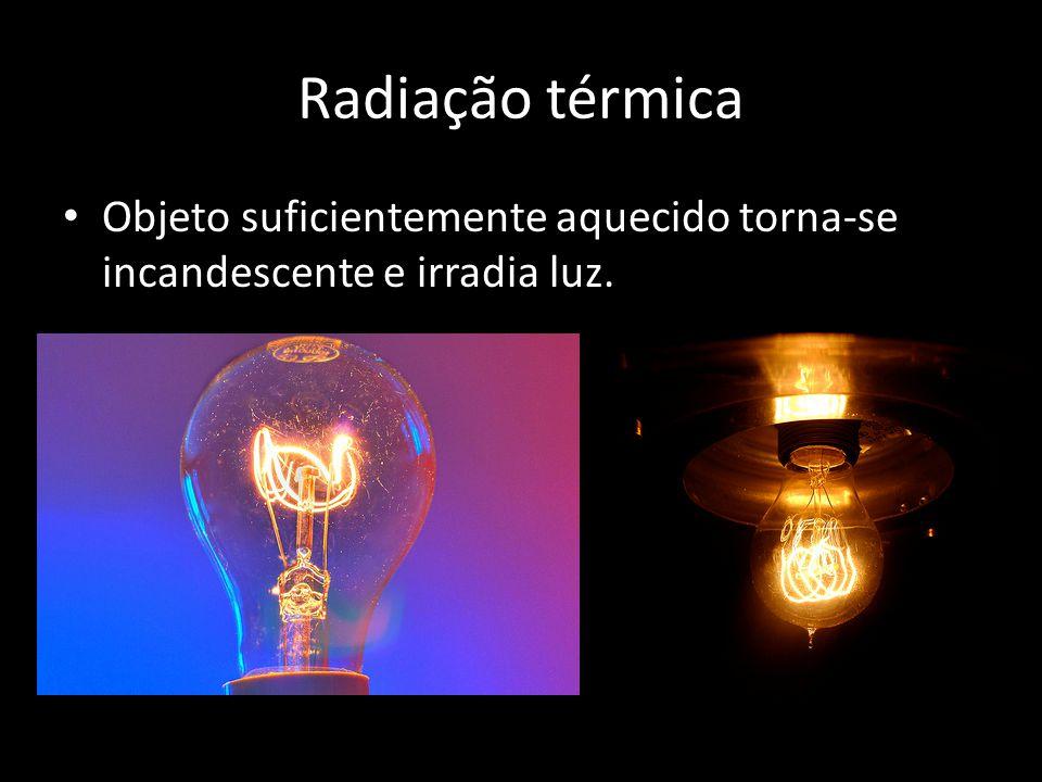 Radiação térmica • Objeto suficientemente aquecido torna-se incandescente e irradia luz.