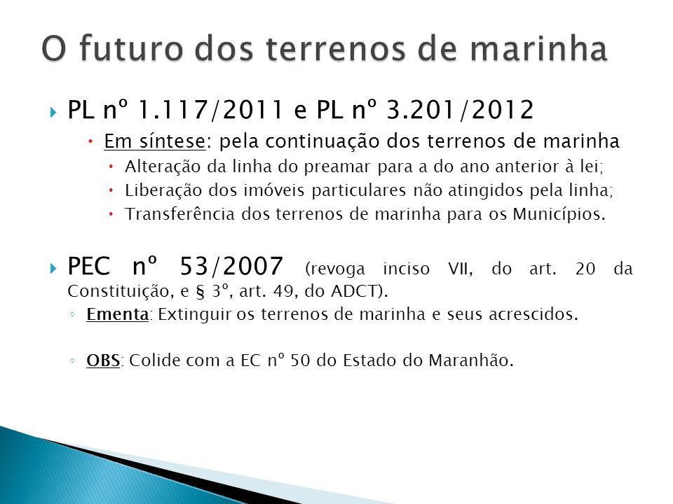  PL nº 1.117/2011 e PL nº 3.201/2012  Em síntese: pela continuação dos terrenos de marinha  Alteração da linha do preamar para a do ano anterior à