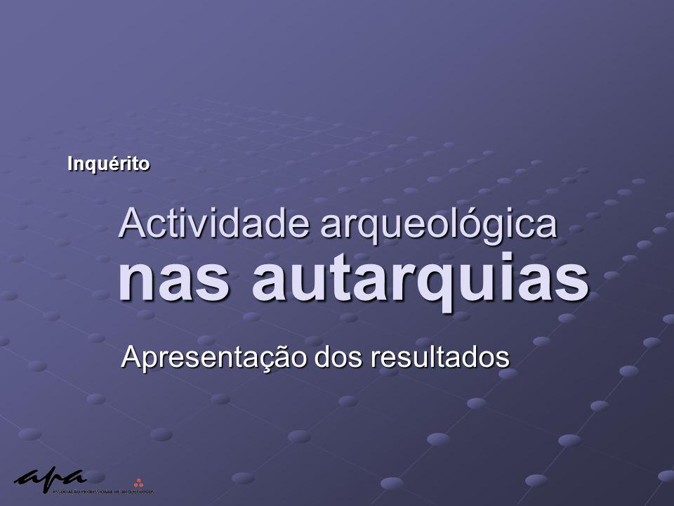 Actividade arqueológica Apresentação dos resultados Inquérito nas autarquias