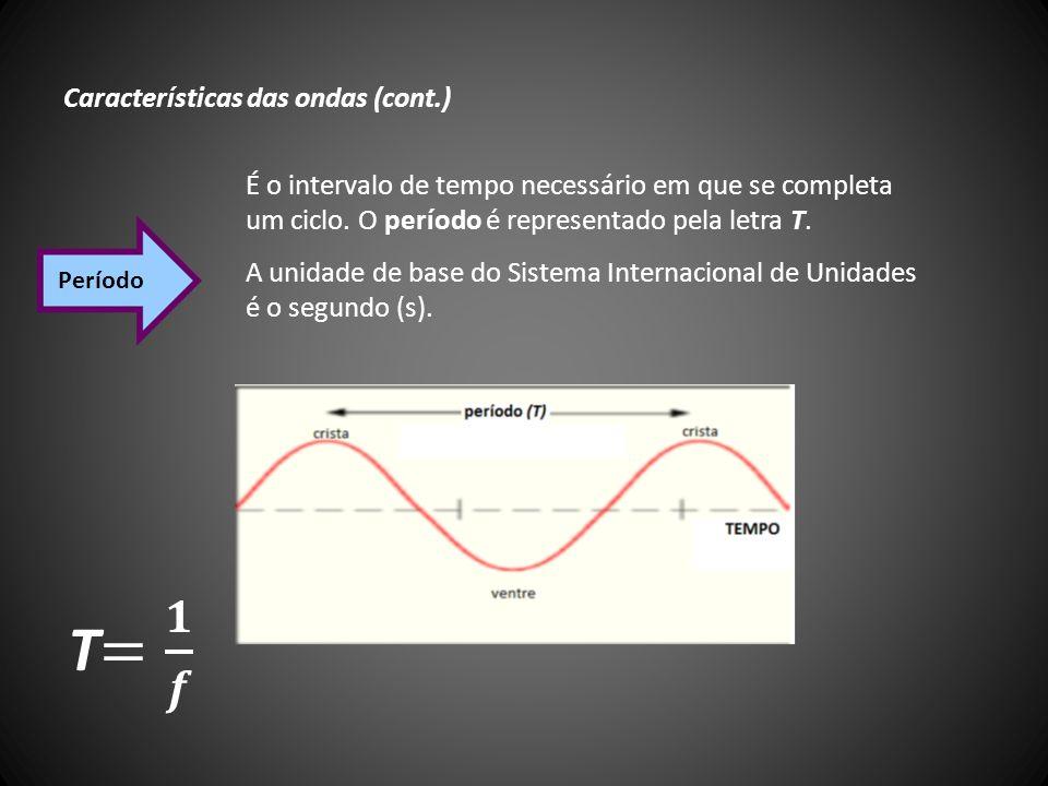 Características das ondas (cont.) É o intervalo de tempo necessário em que se completa um ciclo. O período é representado pela letra T. A unidade de b