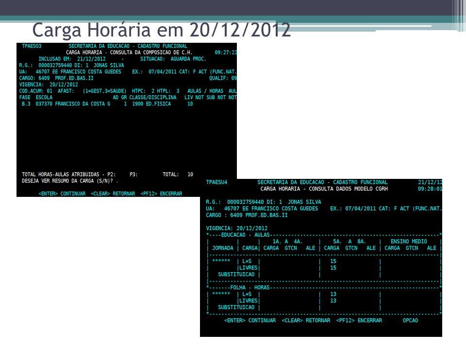 Carga Horária em 20/12/2012