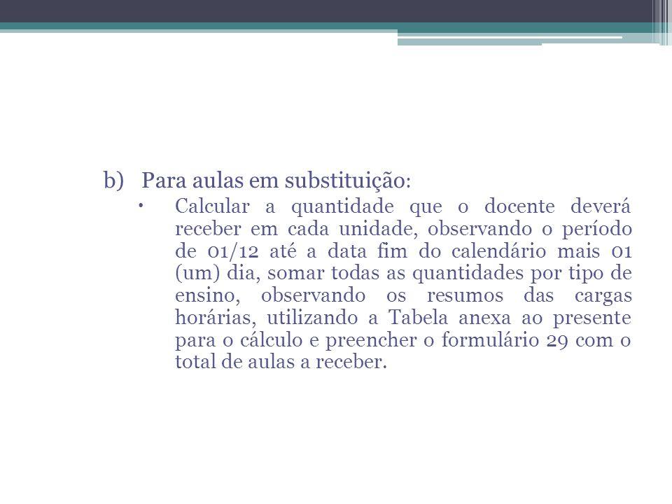 b)Para aulas em substituição :  Calcular a quantidade que o docente deverá receber em cada unidade, observando o período de 01/12 até a data fim do c