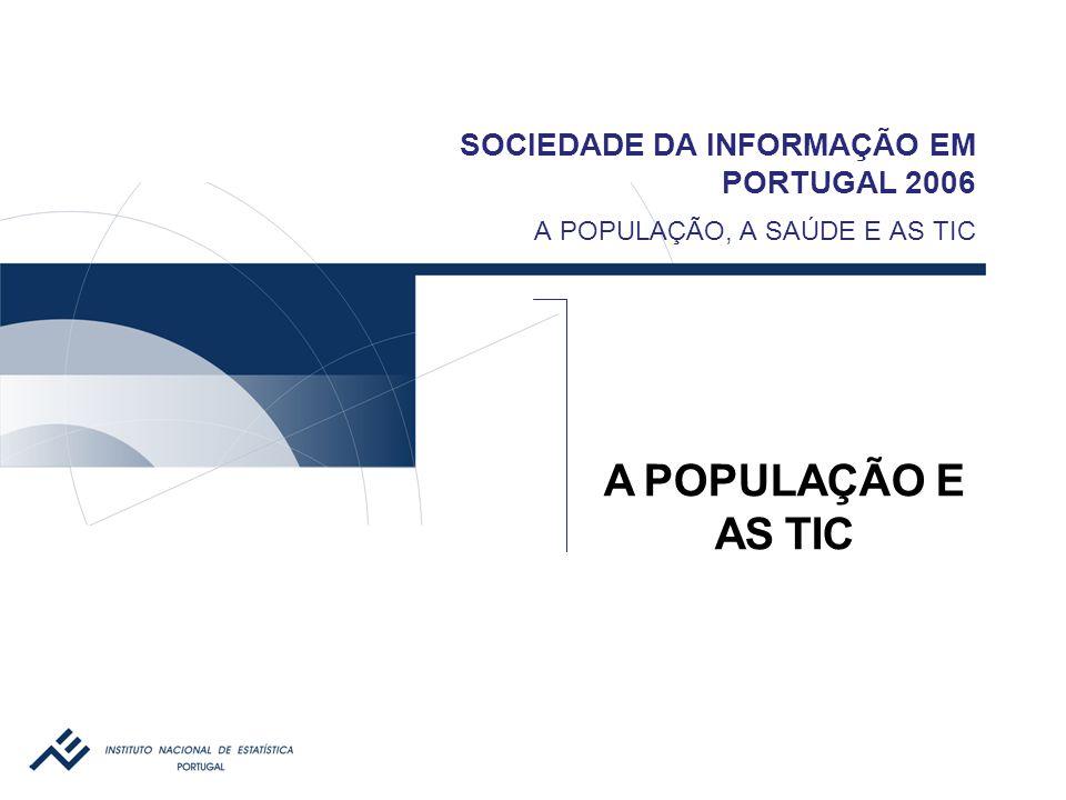 SOCIEDADE DA INFORMAÇÃO EM PORTUGAL 2006 A POPULAÇÃO E AS TIC CARACTERIZAÇ ÃO I nquérito à U tilização de T ecnologias da I nformação e da C omunicação pelas F amílias  Periodicidade: anual (desde 2001)  Enquadramento  Questionário modelo Eurostat  Regulamento comunitário para a área da Sociedade da Informação