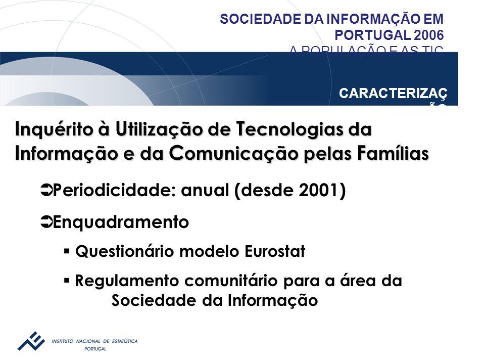 SOCIEDADE DA INFORMAÇÃO EM PORTUGAL 2006 A POPULAÇÃO E AS TIC CARACTERIZAÇ ÃO I nquérito à U tilização de T ecnologias da I nformação e da C omunicaçã