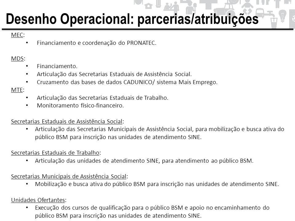 MEC: • Financiamento e coordenação do PRONATEC. MDS: • Financiamento. • Articulação das Secretarias Estaduais de Assistência Social. • Cruzamento das