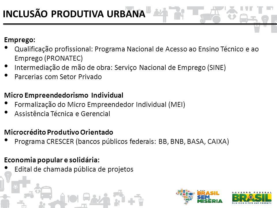 Emprego: • Qualificação profissional: Programa Nacional de Acesso ao Ensino Técnico e ao Emprego (PRONATEC) • Intermediação de mão de obra: Serviço Na