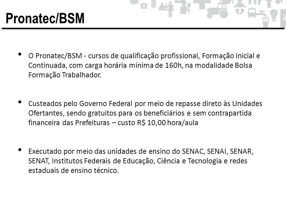 Pronatec/BSM • O Pronatec/BSM - cursos de qualificação profissional, Formação Inicial e Continuada, com carga horária mínima de 160h, na modalidade Bo