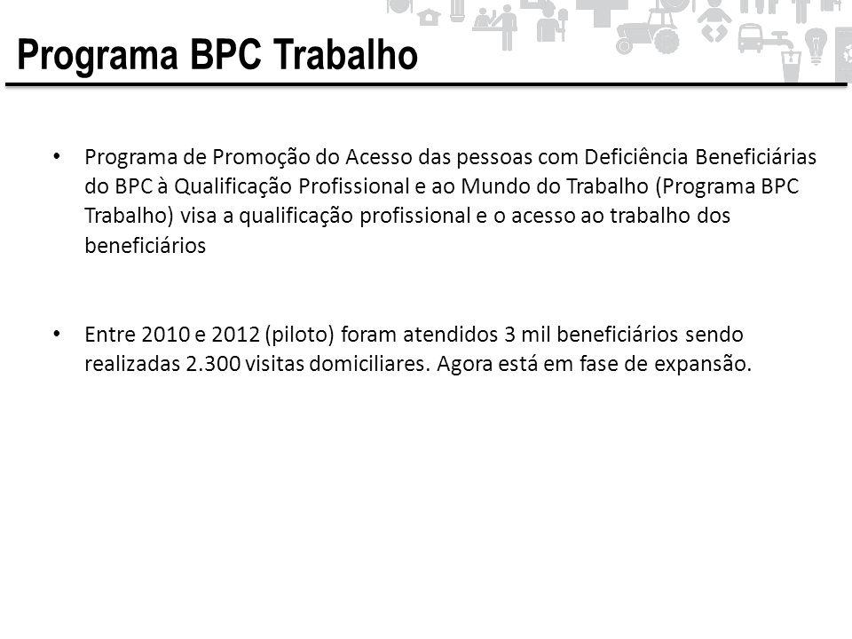 • Programa de Promoção do Acesso das pessoas com Deficiência Beneficiárias do BPC à Qualificação Profissional e ao Mundo do Trabalho (Programa BPC Tra