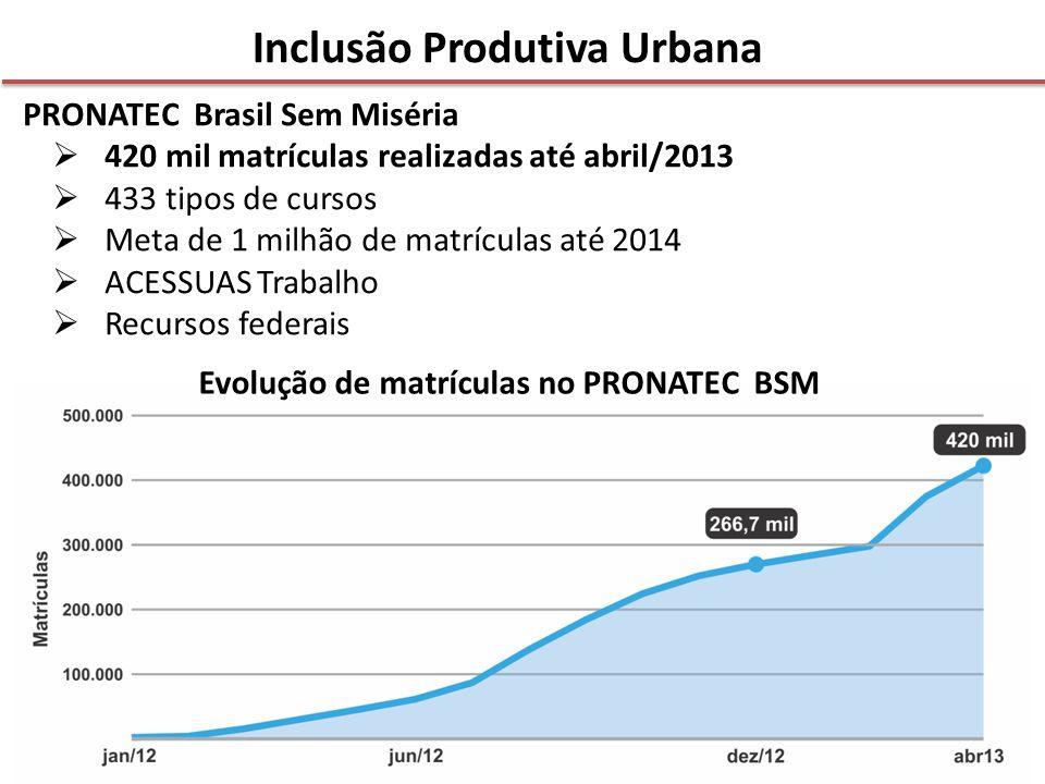 PRONATEC Brasil Sem Miséria  420 mil matrículas realizadas até abril/2013  433 tipos de cursos  Meta de 1 milhão de matrículas até 2014  ACESSUAS