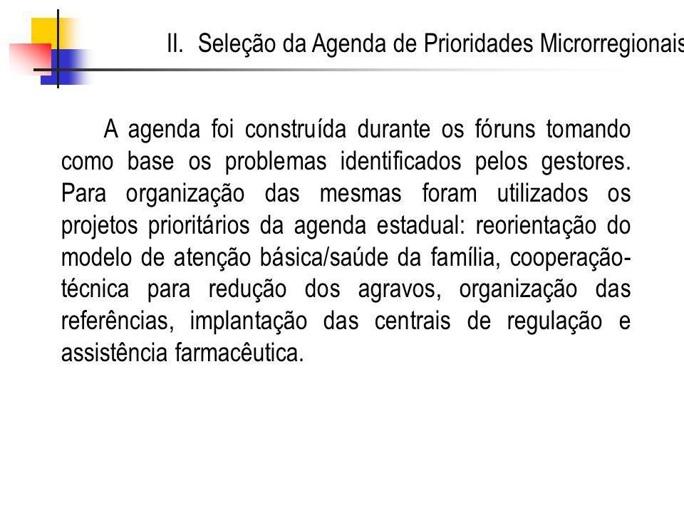 A agenda foi construída durante os fóruns tomando como base os problemas identificados pelos gestores.