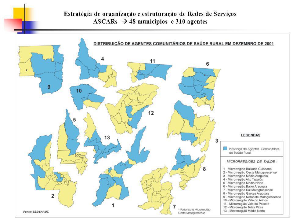 Estratégia de organização e estruturação de Redes de Serviços ASCARs  48 municípios e 310 agentes