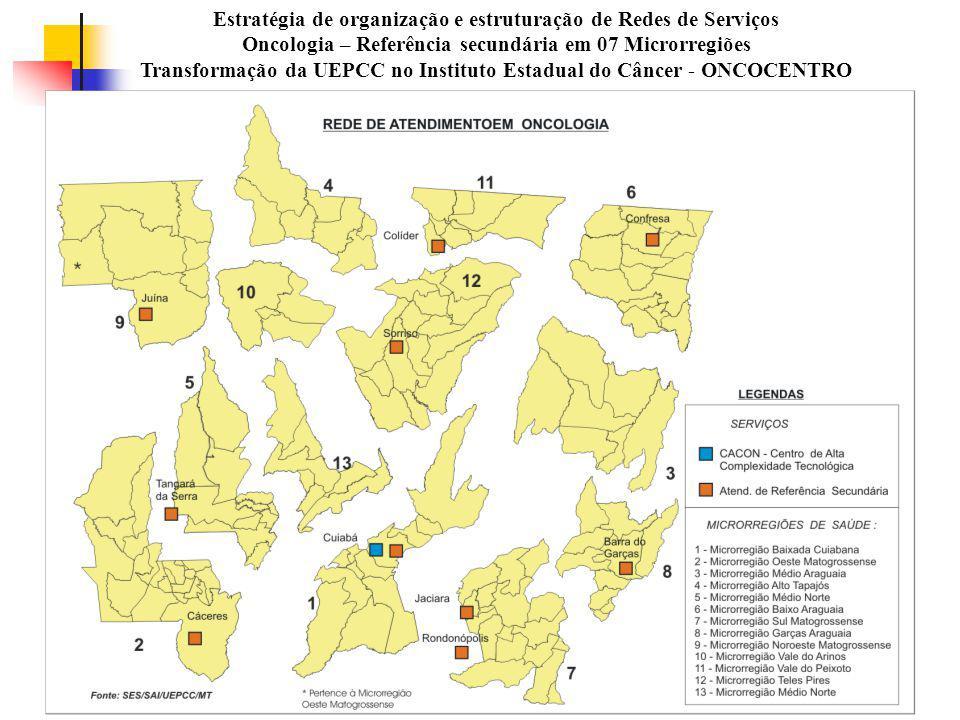 Estratégia de organização e estruturação de Redes de Serviços Oncologia – Referência secundária em 07 Microrregiões Transformação da UEPCC no Instituto Estadual do Câncer - ONCOCENTRO