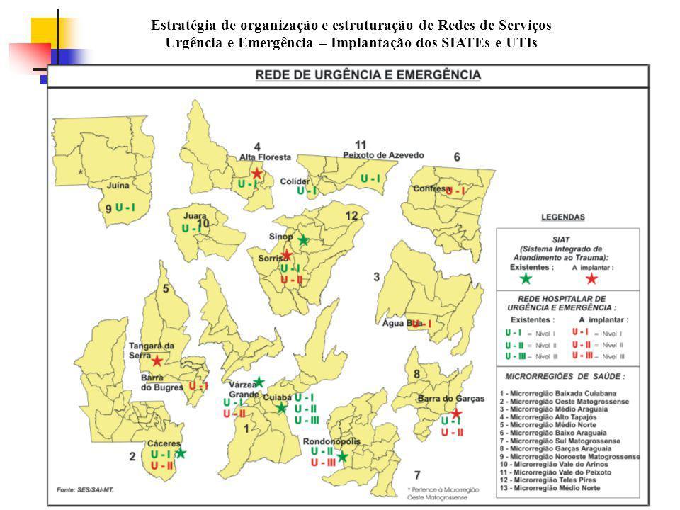 Estratégia de organização e estruturação de Redes de Serviços Urgência e Emergência – Implantação dos SIATEs e UTIs