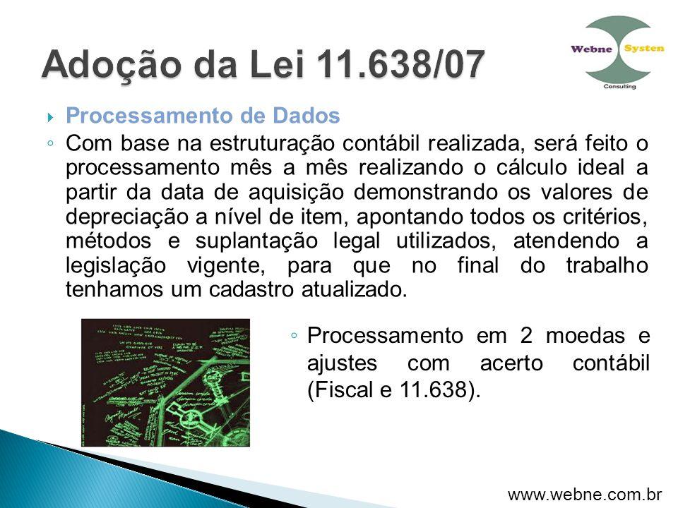 ◦ Processamento em 2 moedas e ajustes com acerto contábil (Fiscal e 11.638).  Processamento de Dados ◦ Com base na estruturação contábil realizada, s