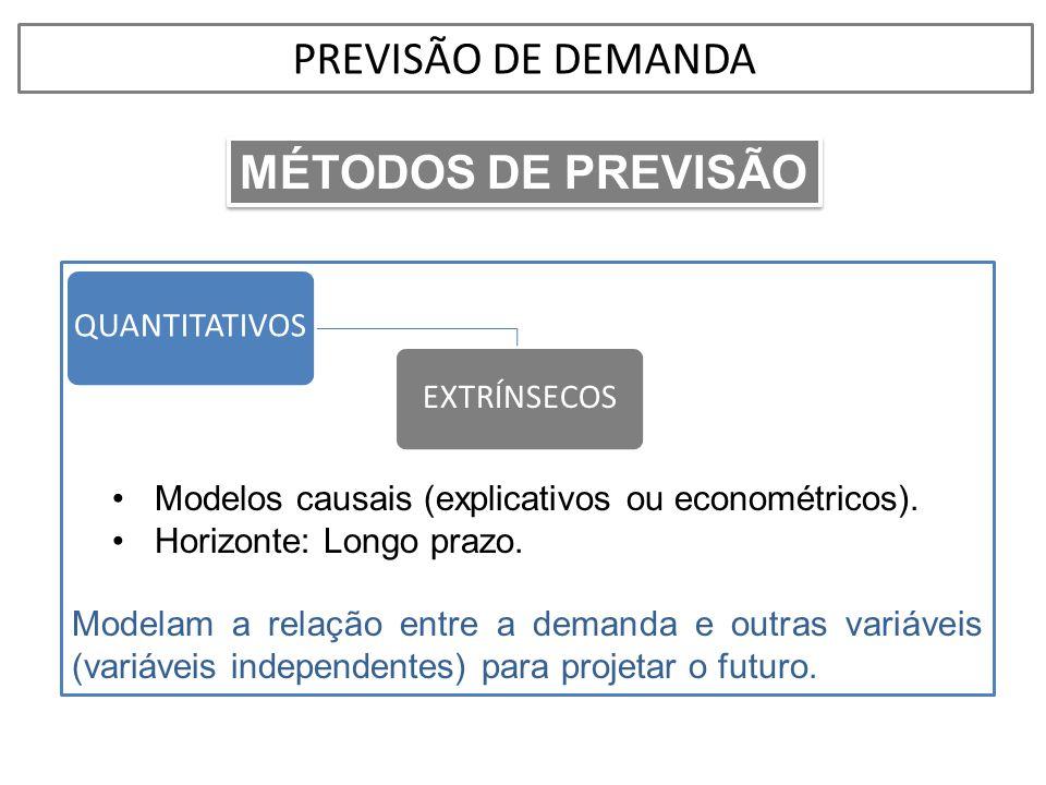 •Modelos causais (explicativos ou econométricos). •Horizonte: Longo prazo. Modelam a relação entre a demanda e outras variáveis (variáveis independent