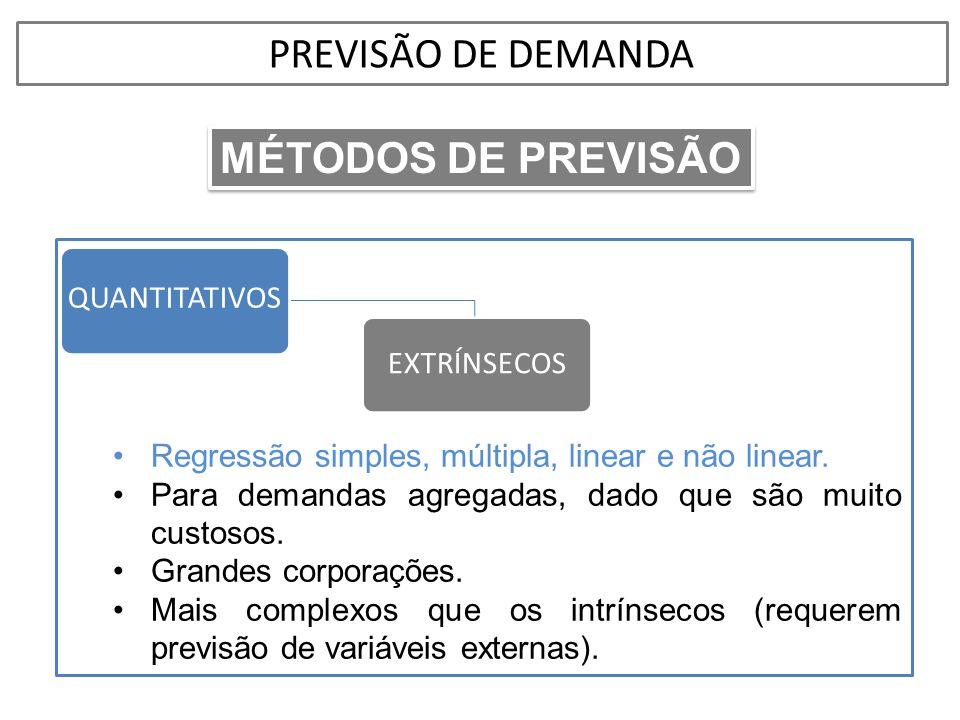 •Regressão simples, múltipla, linear e não linear. •Para demandas agregadas, dado que são muito custosos. •Grandes corporações. •Mais complexos que os