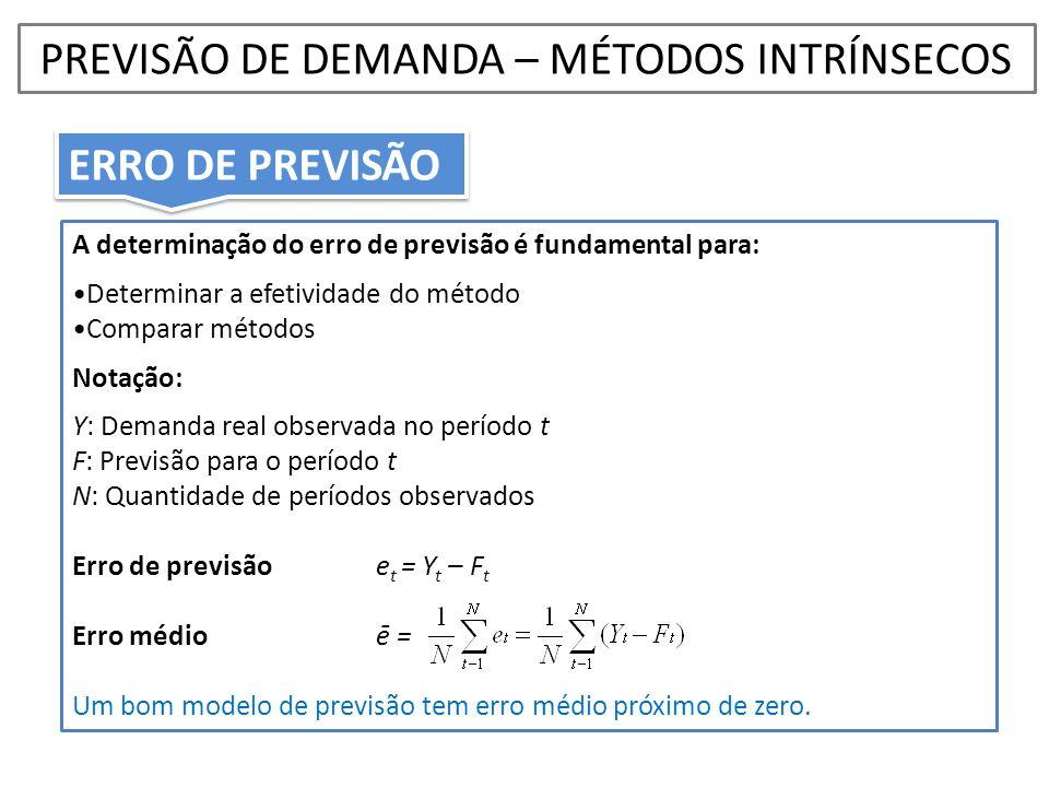 A determinação do erro de previsão é fundamental para: •Determinar a efetividade do método •Comparar métodos Notação: Y: Demanda real observada no per
