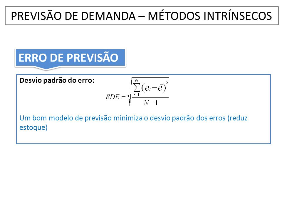 Desvio padrão do erro: Um bom modelo de previsão minimiza o desvio padrão dos erros (reduz estoque) PREVISÃO DE DEMANDA – MÉTODOS INTRÍNSECOS ERRO DE