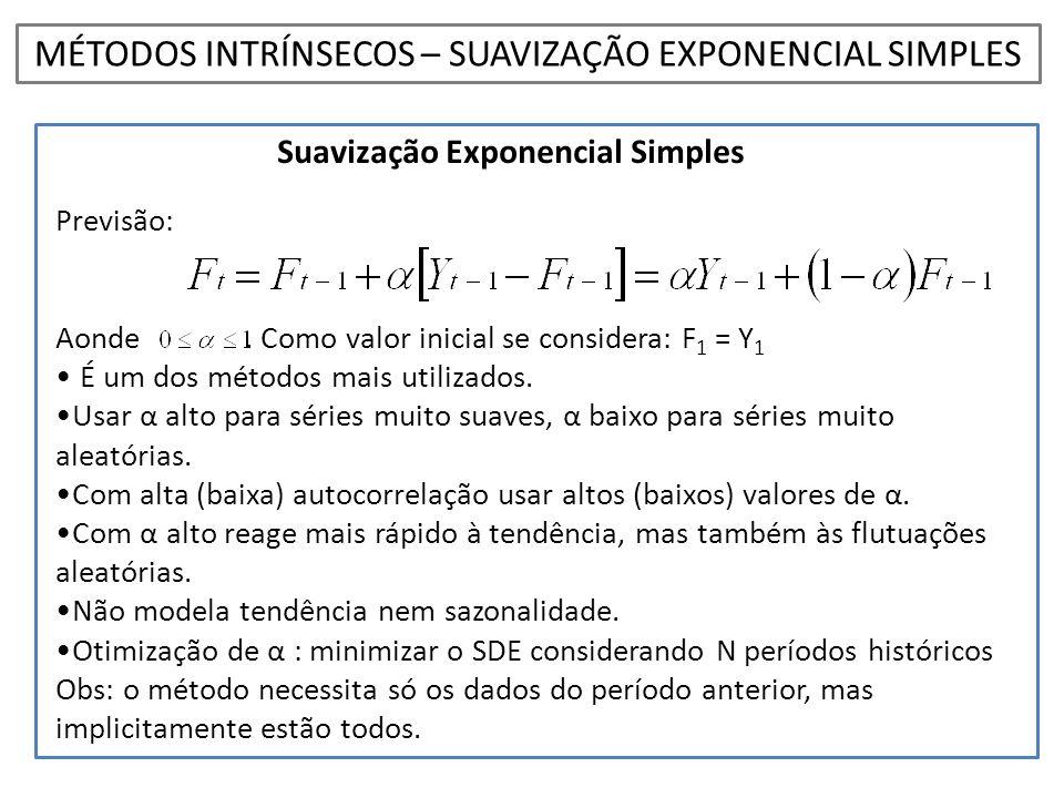 Suavização Exponencial Simples Previsão: Aonde. Como valor inicial se considera: F 1 = Y 1 • É um dos métodos mais utilizados. •Usar α alto para série