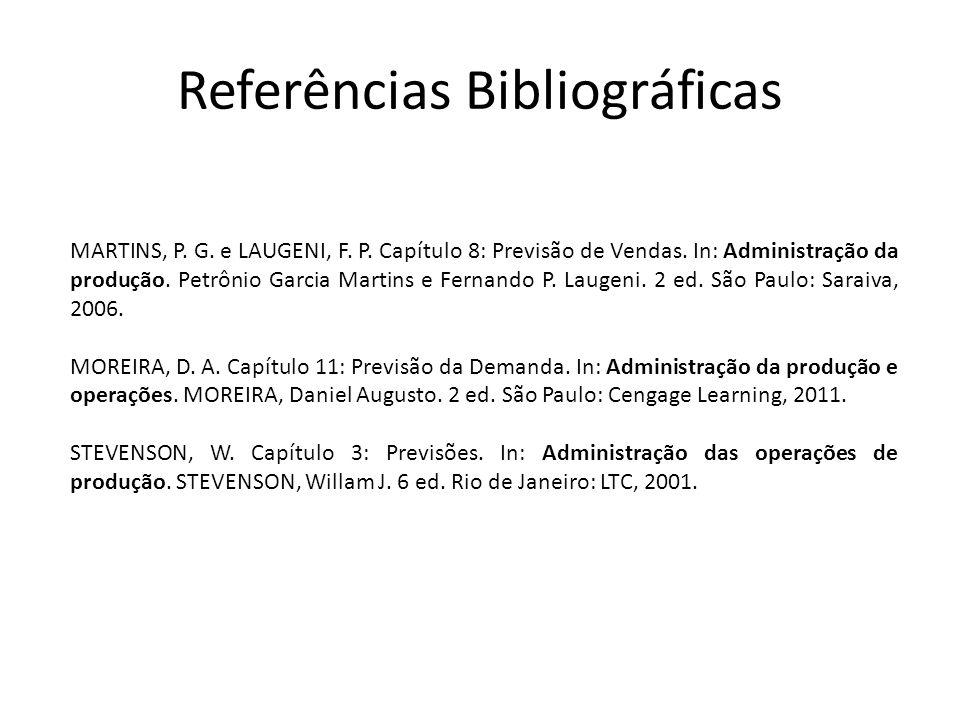 Referências Bibliográficas MARTINS, P. G. e LAUGENI, F. P. Capítulo 8: Previsão de Vendas. In: Administração da produção. Petrônio Garcia Martins e Fe